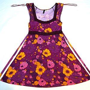 Burgundy Flowered Celtic-Style Women Spring Dress